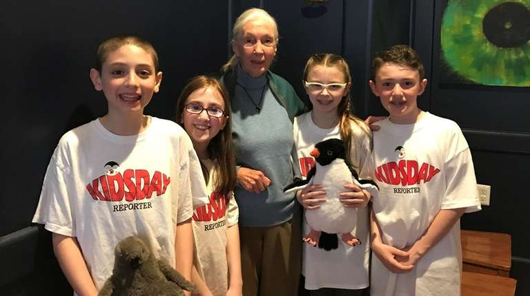 Primatologist and anthropologist Jane Goodall with Kidsday reporters,