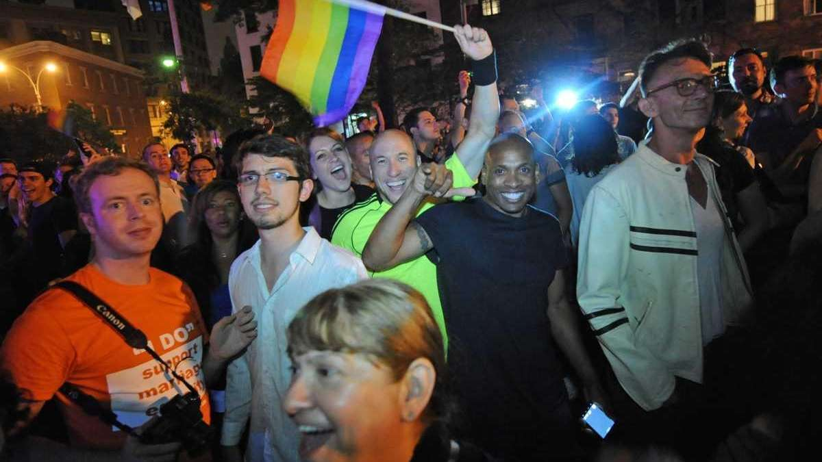 Revelers celebrate in Manhattan's West Village following the