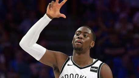 Caris LeVert of the Brooklyn Nets celebrates after