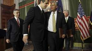 New York Gov. Andrew Cuomo, left, and Senate