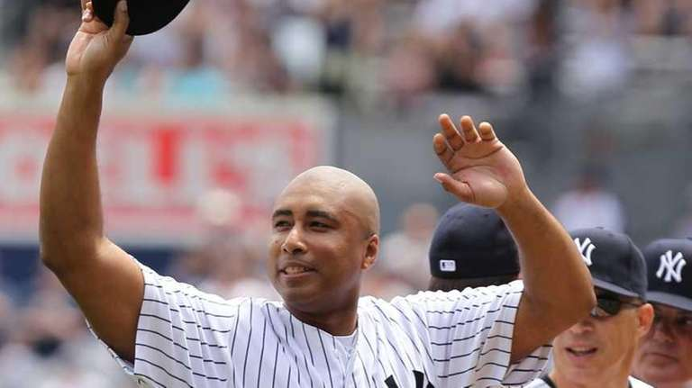 Bernie Williams is introduced during the New York