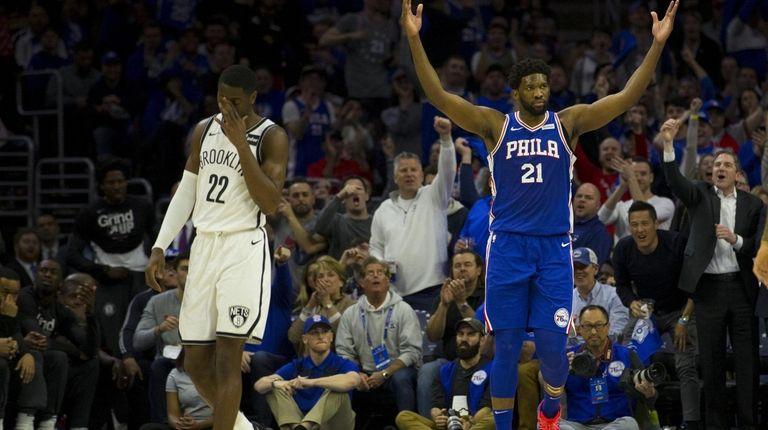 Joel Embiid #21 of the Philadelphia 76ers reacts