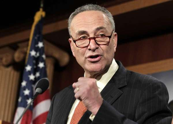 Sen. Charles Schumer at a news conference at