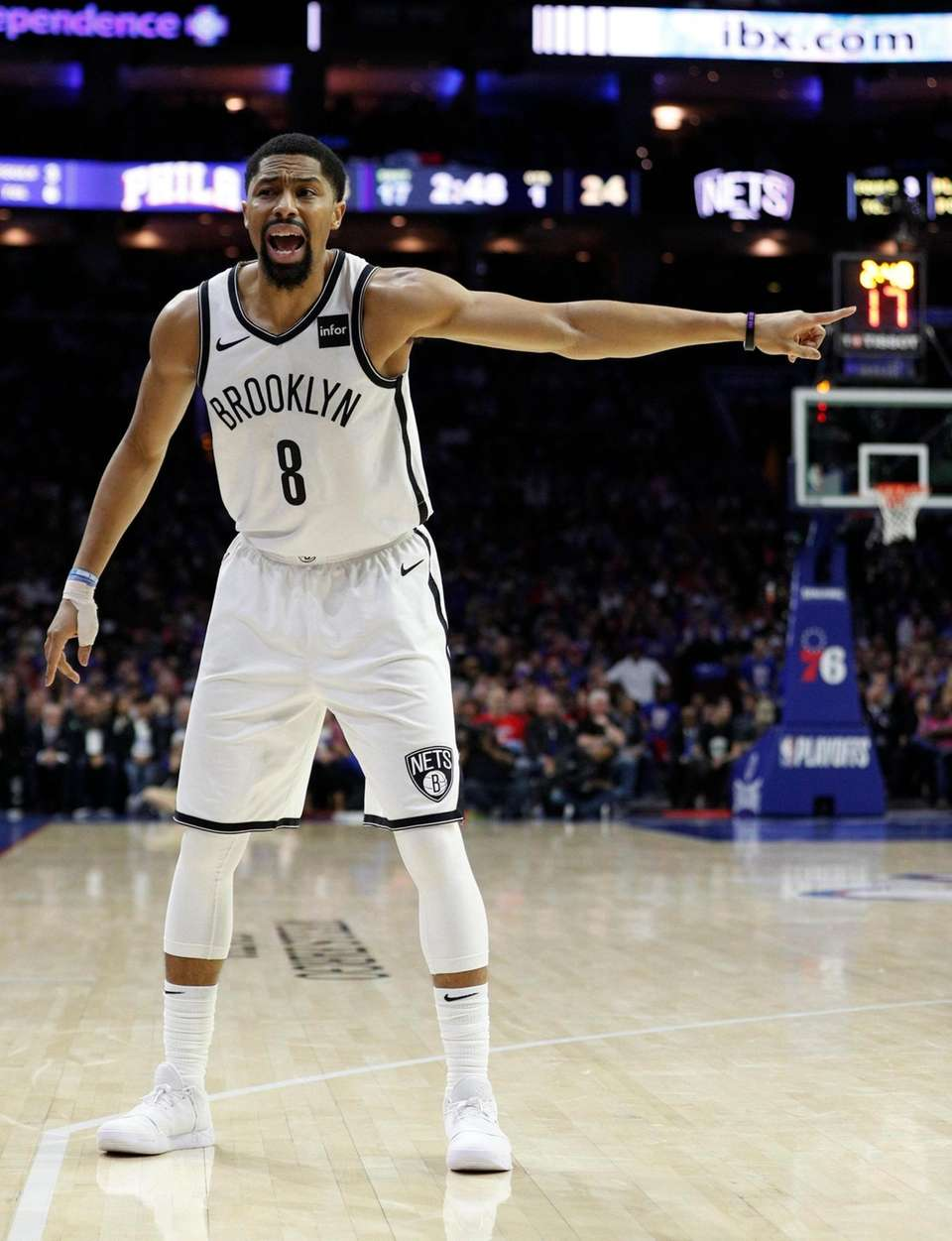 Brooklyn Nets' Spencer Dinwiddie reacts during the first