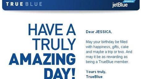 JetBlue Airways sends email birthday greetings to TrueBlue