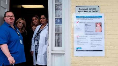 Nurses wait for patients at the Rockland County