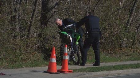 Police near the scene of the crash Tuesday