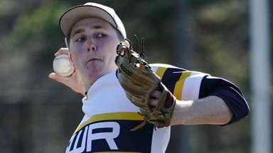 Shoreham-Wading River pitcher Aidan Crowley (18) delivers against