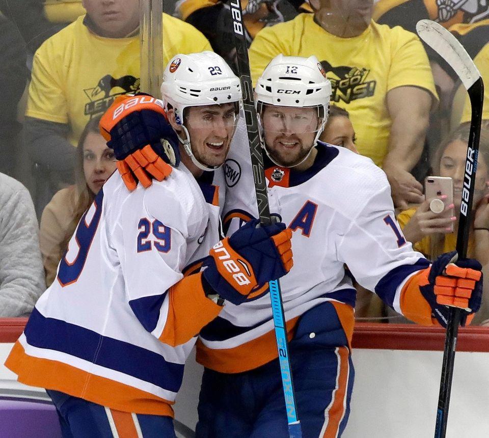 New York Islanders' Brock Nelson (29) celebrates his