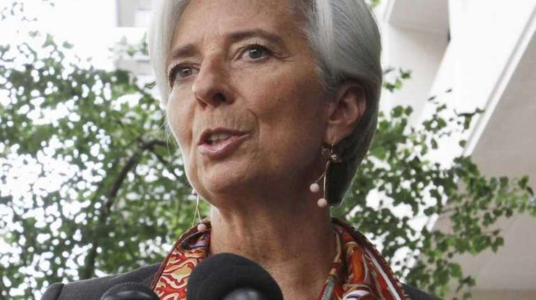 French Finance Minister Christine Lagarde speaks to the