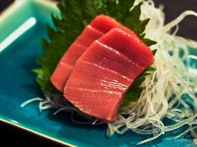 A sashimi platter of Chu Toro, left, and