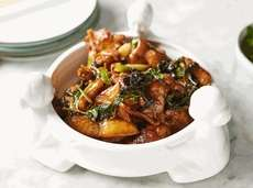 Three-cup chicken, a Taiwanese specialty of chicken with