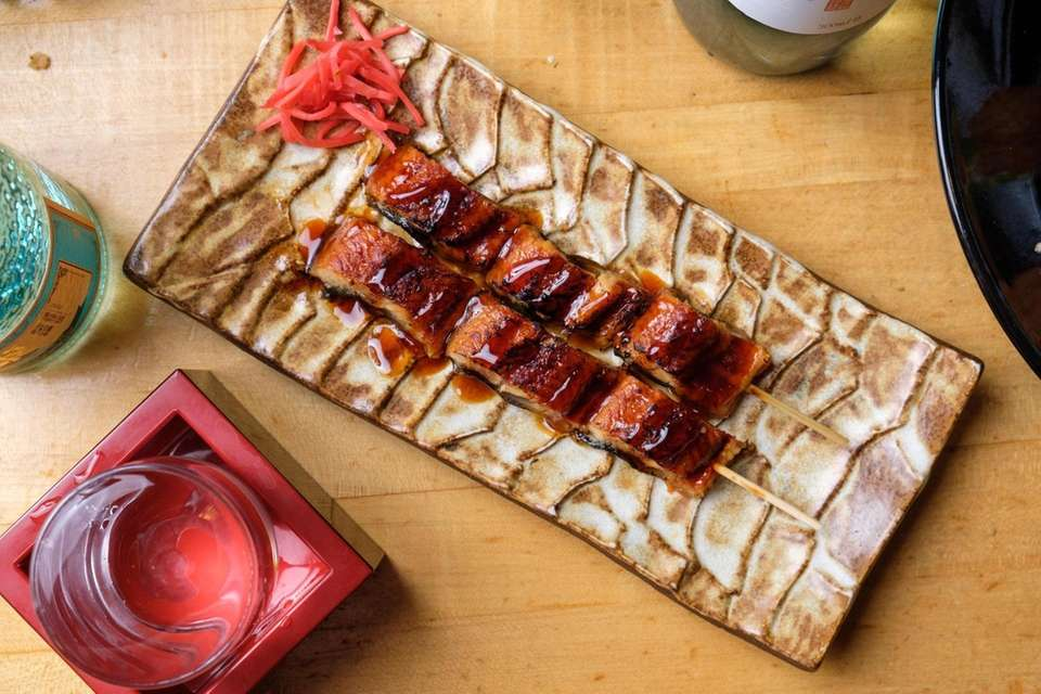 Unagi Kogushi Yaki, BBQ eel skewers, served at