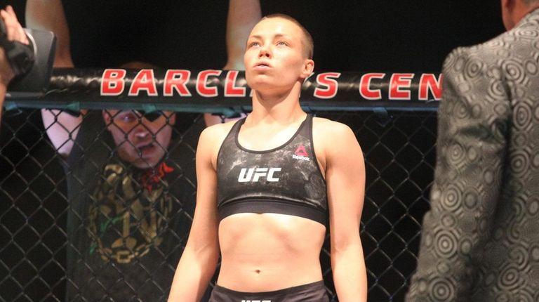 Rose Namajunas awaits her introduction at UFC 223