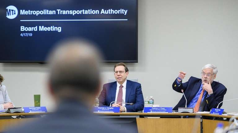 Patrick Foye, right, presides over his first MTA
