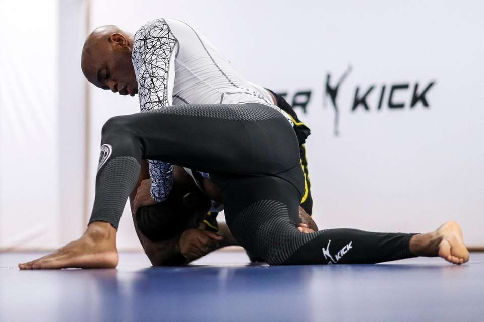 UFC middleweight fighter Anderson Silva of Brazil trains