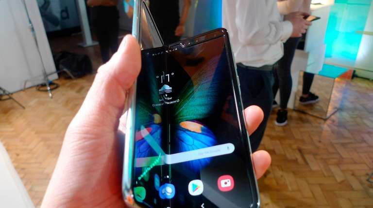 The Samsung Galaxy Fold smartphone is seen during