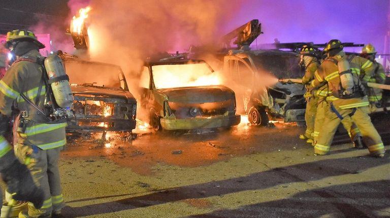 Five Optimum trucks were destroyed in a fire