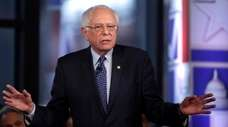 Sen. Bernie Sanders speaks during a Fox News