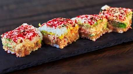 Square-cut Big Mac sushi combines crab salad, spicy