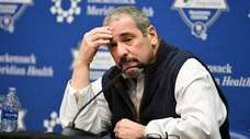 Giants GM Dave Gettleman talks with the media