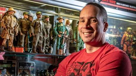 Collector Frank Patz displays his G.I. Joes at