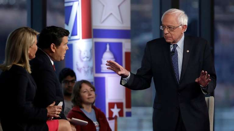 Sen. Bernie Sanders speaks during a Fox News
