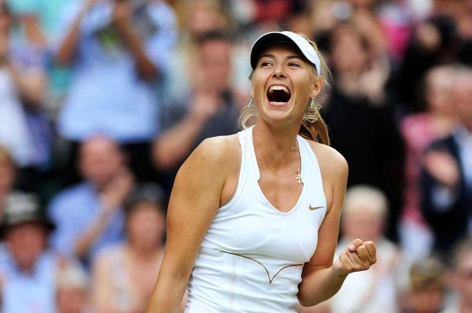Maria Sharapova celebrates after winning her semifinal match