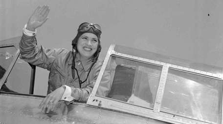 Jacqueline Cochran as she arrived in Miami from