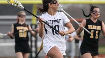 Olivia Carner of Northport races downfield against Wantagh