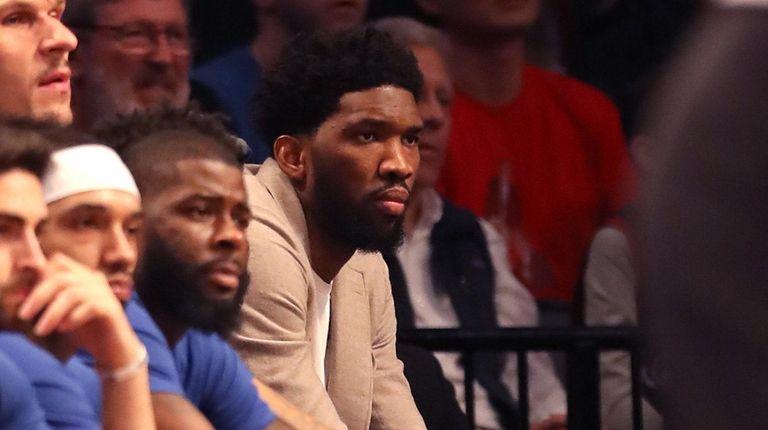 Joel Embiid #21 of the Philadelphia 76ers looks