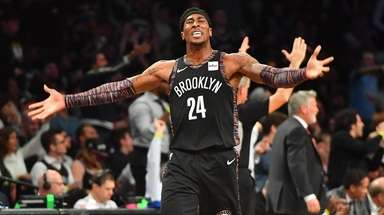 Nets forward Rondae Hollis-Jefferson (24) celebrates in the