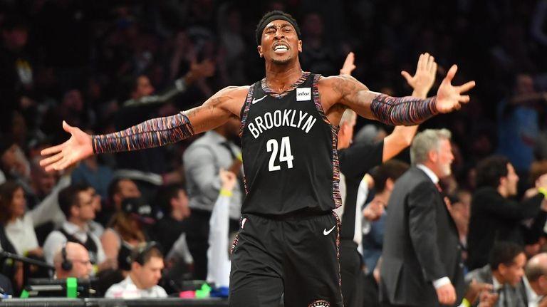 Nets forward Rondae Hollis-Jefferson (24) celebrates in the