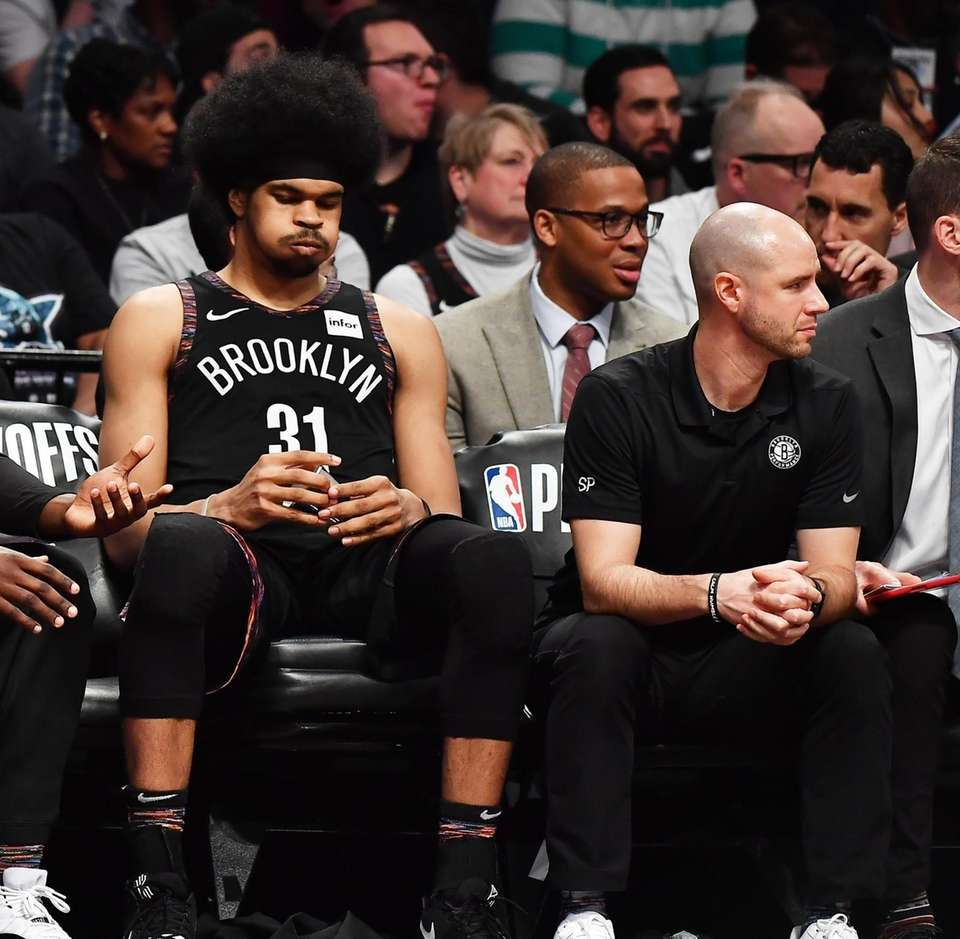 Nets center Jarrett Allen (31) on the bench