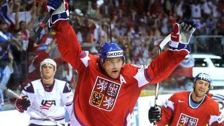 Jaromir Jagr of the Czech Republic celebrates his