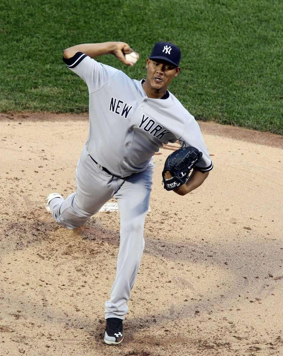 Ivan Nova of the Yankees pitches against the