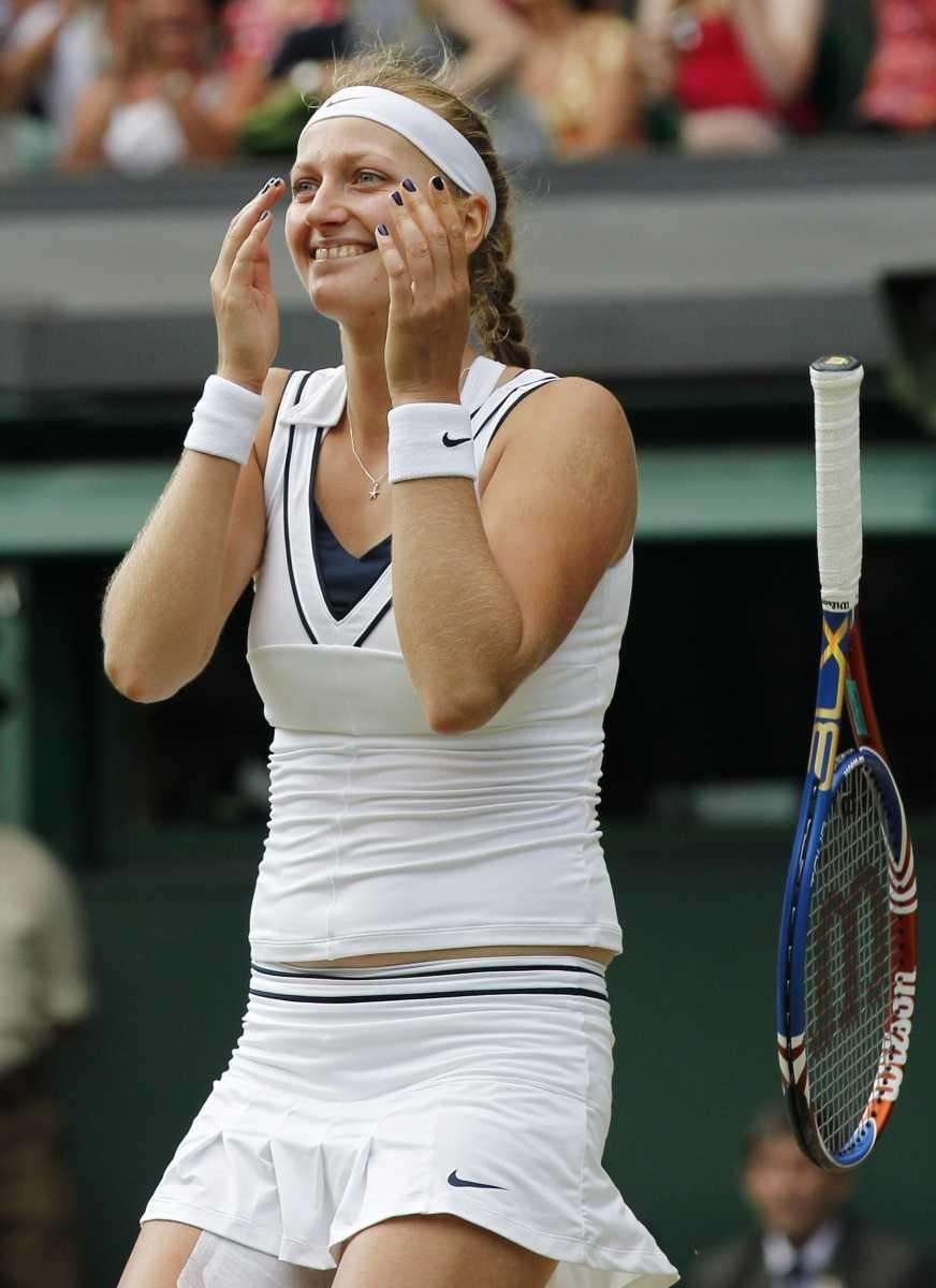 Petra Kvitova of the Czech Republic celebrates after