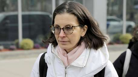 Clare Bronfman outside federal court in Brooklyn in