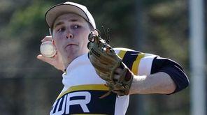 Shoreham-Wading River pitcher Aidan Crowley (18) delivers against