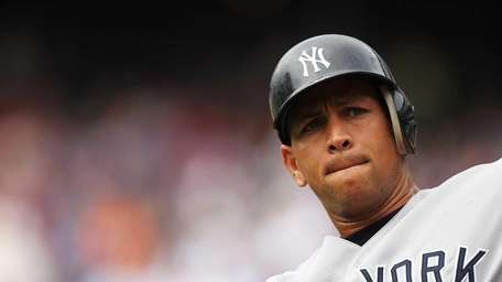 Alex Rodriguez of the New York Yankees looks