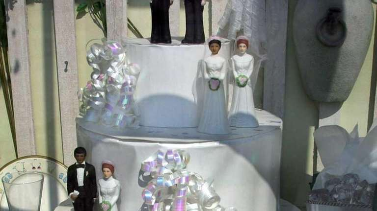 A display at a wedding shop in Provincetown,