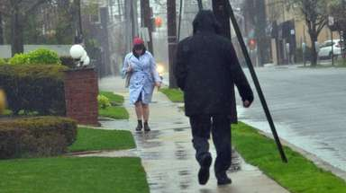 It rained heavily in Lawrence on Saturday morning.