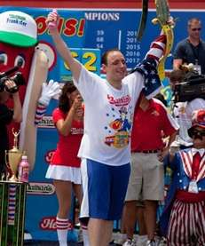 Joey Chestnut celebrates his fifth Nathan's Famous Hot