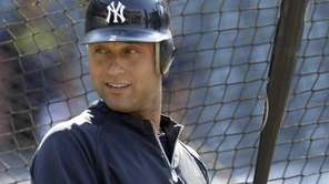 New York Yankees' Derek Jeter prepares to take