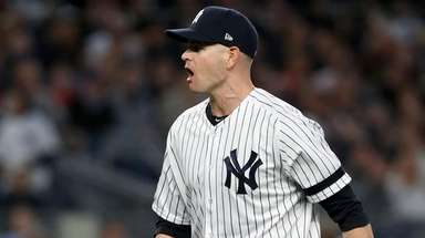 James Paxton of the Yankees reacts after the