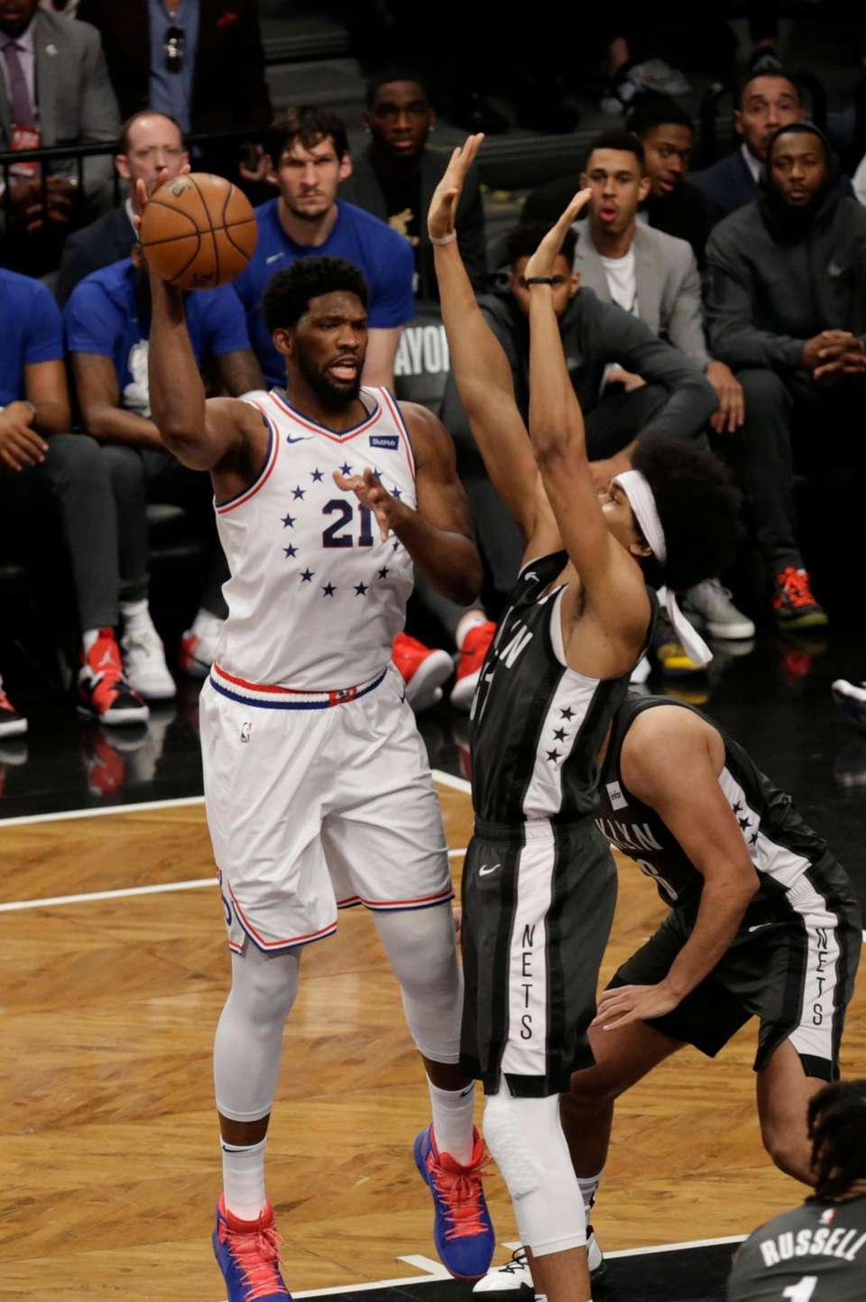 \p31\ is defended by Nets center Jarrett Allen