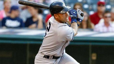 Yankees shortstop Derek Jeter (2) bats during