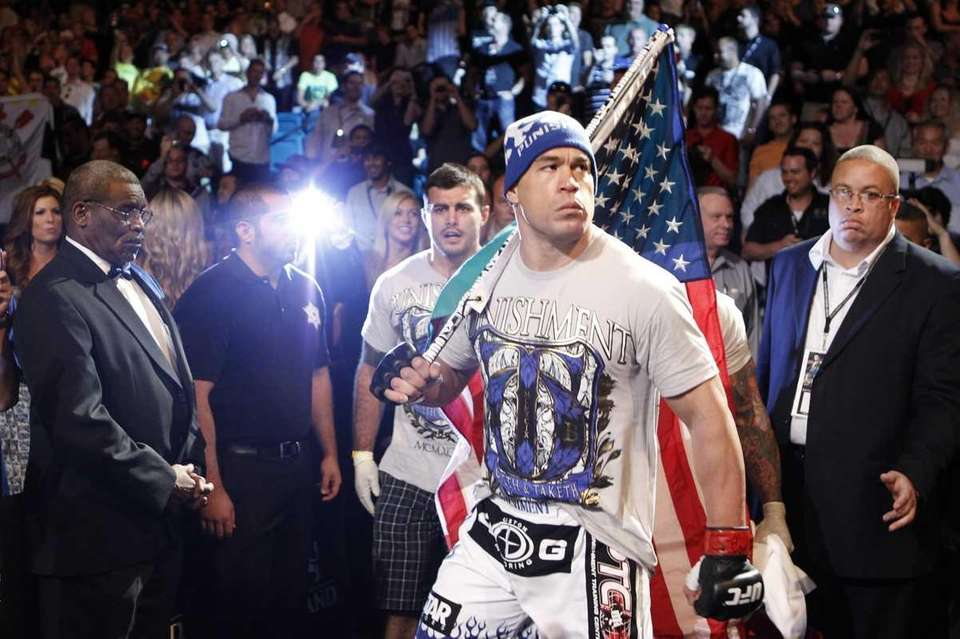 Tito Ortiz enters the arena just before his