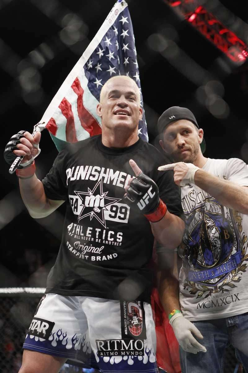 Tito Ortiz celebrates his victory over Ryan Bader