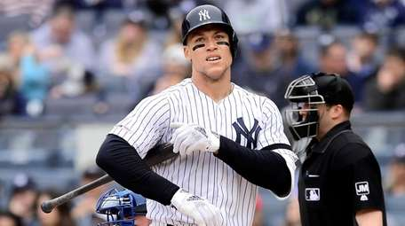 Aaron Judge of the Yankees reacts during the